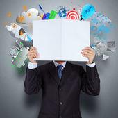 Mano de hombre de negocios mostrar libro de negocios de éxito — Foto de Stock