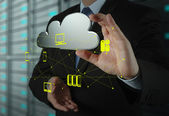 Businessman working with a Cloud Computing diagram on the new — Stok fotoğraf