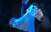 Businessman hand drawing virtual chart business — Stock Photo