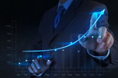 Businessman hand touch virtual chart business