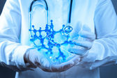 Scientist doctor hand touch virtual molecular structure — Stock Photo