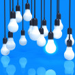 Creative idea and leadership concept light bulb on blue — Stock Photo