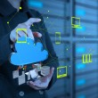 Businesswoman working with a Cloud Computing diagram on the new — Stock Photo #21856633