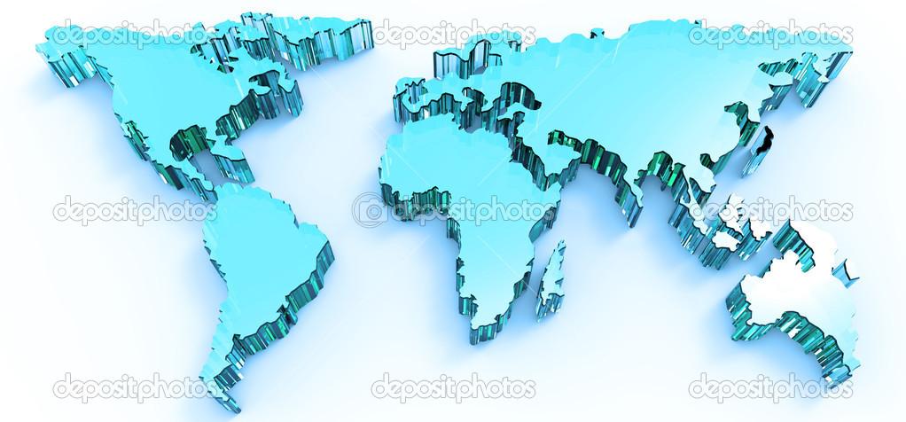 蓝色不锈钢 3d 商务世界地图— 照片作者 everythingposs