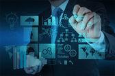 Zakenman hand werken met nieuwe moderne computer en business s — Stockfoto