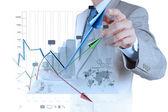 Mano de hombre de negocios trabajando con nuevo equipo moderno y negocios s — Foto de Stock