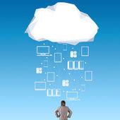 Empresario pensando en concepto de idea red cloud — Foto de Stock