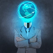 Businessman with lamp-head as social network concept — Stock Photo