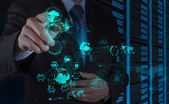 Affärsman hand arbetar med en cloud computing — Stockfoto