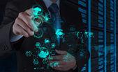 Mão de homem de negócios, trabalhando com um diagrama de computação de nuvem — Foto Stock