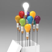 Drawing idea pencil and light bulb concept outside the box as cr — Stock Photo