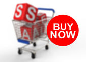 3d shopping cart sale buy now — Stock Photo