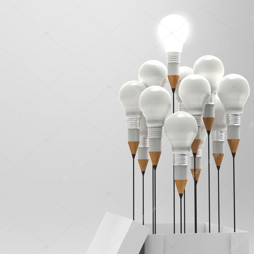 disegno matita idea e concetto di lampadina fuori dagli schemi come cr ...