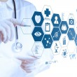 Medicine doctor hand working with modern computer interface — Stock Photo