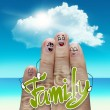 Stock Photo: Finger family travels at beach and family word