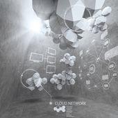 Abstracte 3d-laag veelhoek ontwerp voor cloud netwerken computer — Stockfoto