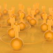 Liderazgo y red social humano amarillo en 3d — Foto de Stock