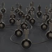 3d stainless human social network and leadership as concept — Stock Photo