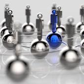 Liderazgo y red social humana en acero inoxidable 3d — Foto de Stock