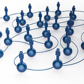 3d blue human social network — Stock Photo