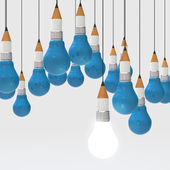 Drawing idea pencil and light bulb concept creative and leadersh — Stock Photo