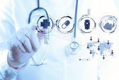 Medicine doctor hand working with modern computer interface — Foto Stock
