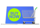 Buy now on laptop computer with cart — Stock Photo