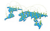 Social network human 3d on world map — Stock Photo