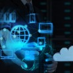 Businessman hand shows cloud network — Stock Photo #27764183