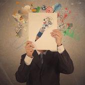 Businessman hand show black cover book of partnership business — Stock Photo