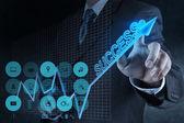Homme d'affaires main touch succès virtuel graphique — Photo