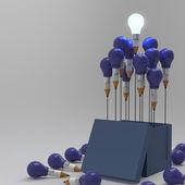Lápiz de dibujo idea y concepto de foco de luz fuera de la caja — Foto de Stock