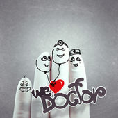 A lovely family hand drawn and finger,doctor and nurse — Stock Photo
