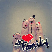 The happy finger family holding family word — Stock Photo