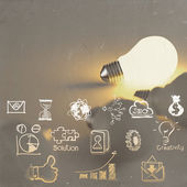 Light bulb 3d on business strategy — Stock Photo