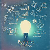 Light bulb 3d on business strategy background — Stock Photo