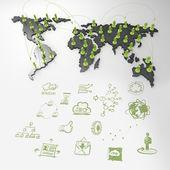 Réseau social humain 3d sur la carte du monde — Photo