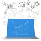 Laptop computer with business diagram — Stock Photo