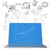 Ordenador portátil con diagrama de negocios — Foto de Stock