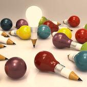 Dessin crayon de l'idée et le concept d'ampoule créatif — Photo