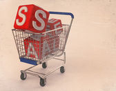 3d shopping cart sale — Stock Photo