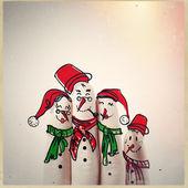 Dibujado a mano y el dedo de muñecos de nieve, como concepto idea — Foto de Stock