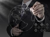 Biznesmen ręcznie rysunek streszczenie glob — Zdjęcie stockowe