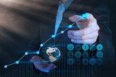 実業家の手描きの仮想グラフ ビジネス — ストック写真
