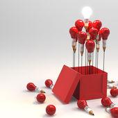Lápiz de dibujo idea y concepto de foco de luz fuera de la caja como cr — Foto de Stock
