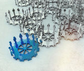 Model of 3d figures on connected cogs — Stock fotografie