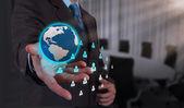 Businessman working with new modern computer show social network — Foto de Stock