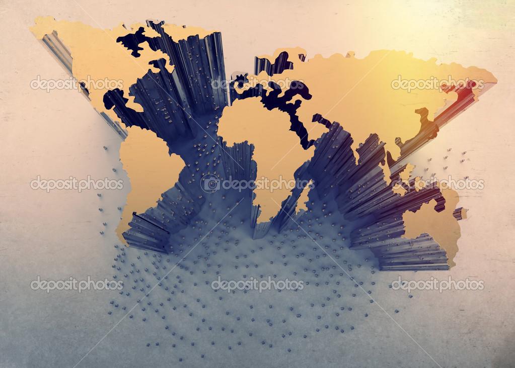 在世界地图上的人类 3d 社交网络