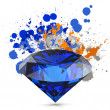 Diamond isolated on white 3d model and slash colors — Стоковая фотография