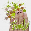 The happy finger family holding family word — Stockfoto